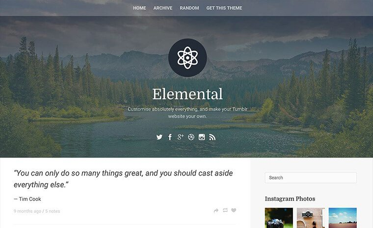 Elemental Tumblr Theme